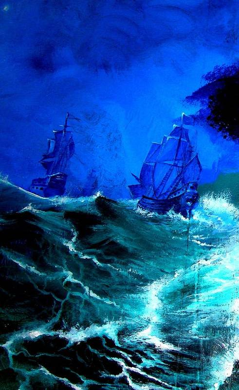 Seascape Art Print featuring the painting Fight For Life by Glory Fraulein Wolfe
