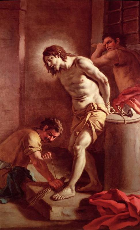 Flagellation Art Print featuring the painting Flagellation Of Christ by Pietro Bardellini