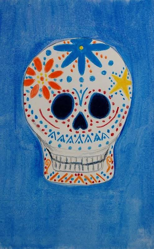 Skull Art Print featuring the mixed media Flower Skull by Charla Van Vlack