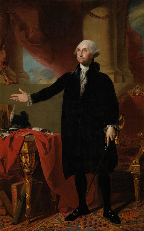 George Washington Print featuring the painting George Washington Lansdowne Portrait by War Is Hell Store