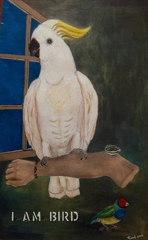 Animal.bird Art Print featuring the painting I Am Bird by Ismael Alicea-Santiago