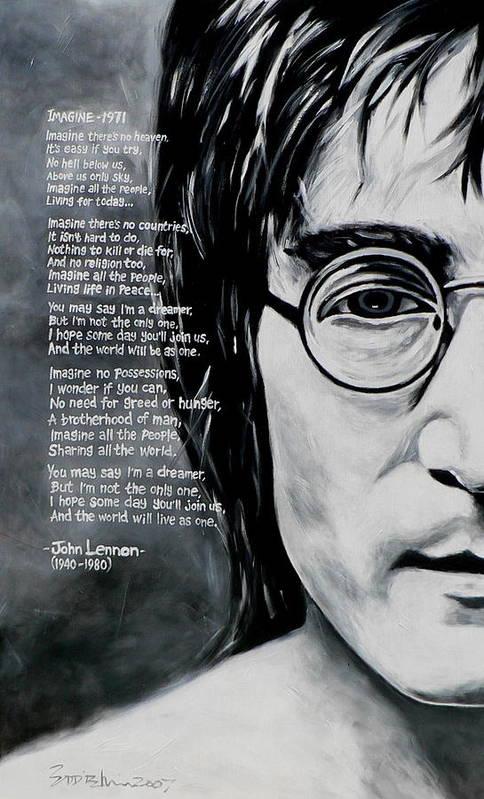 Figurative Art Print featuring the painting John Lennon - Imagine by Eddie Lim
