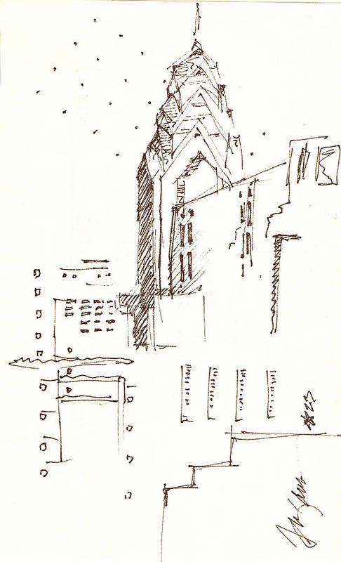 Liberty Place Art Print featuring the drawing Liberty Place Philadelphia by Donna Frizano Leonetti