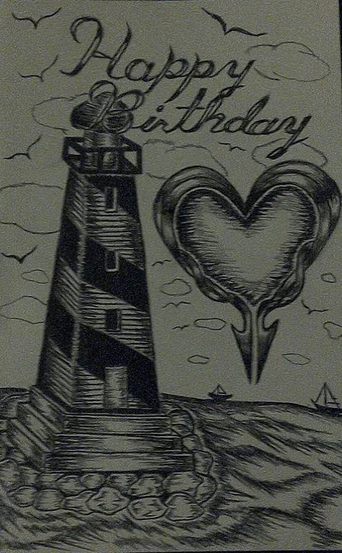 Lighthouse Art Print featuring the drawing Lighthouse Out In The Sea by Matthew Monday