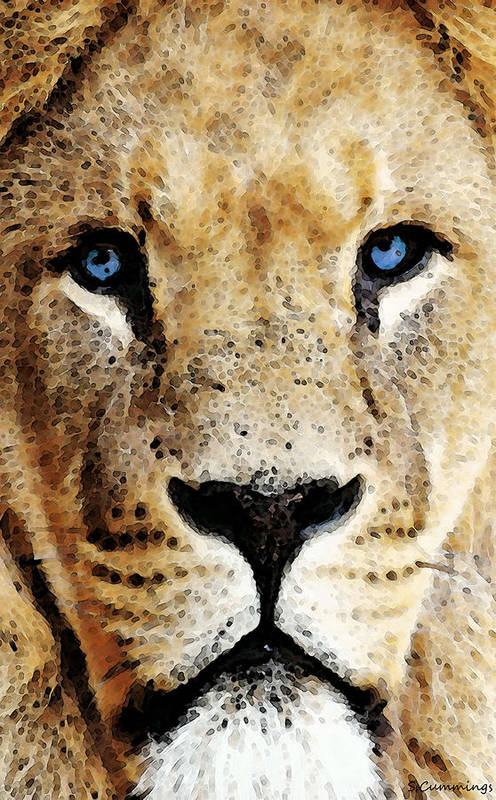 Lions Art Print featuring the painting Lion Art - Blue Eyed King by Sharon Cummings