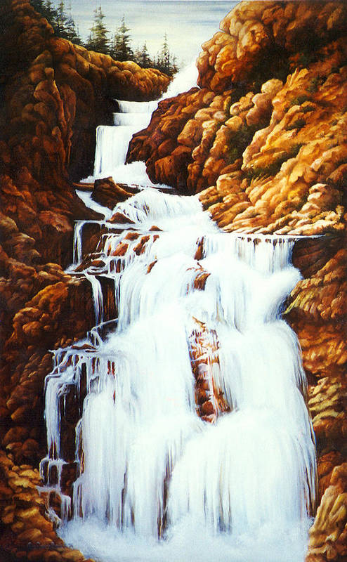 Waterfall Art Print featuring the painting Little Firehole Falls by Teri Rosario