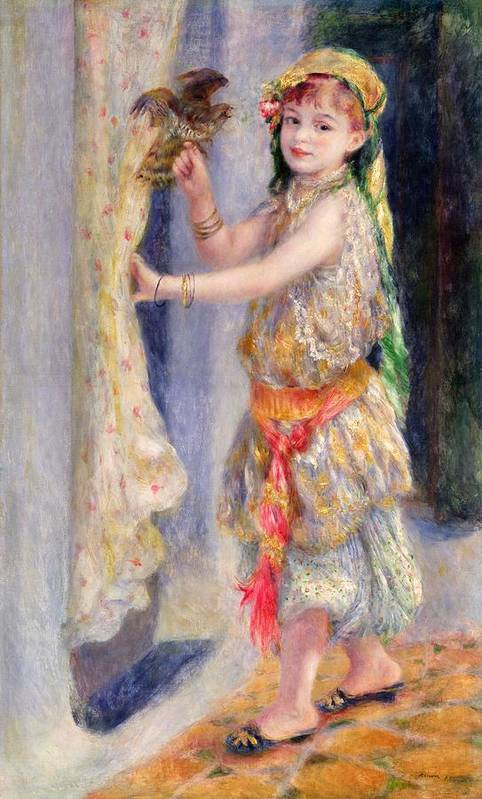 Female; Portrait; Traditional Algerian Costume; Young Girl; Child; Children; Impressionist; Bird; Innocent; Innocence; Fancy Dress Art Print featuring the painting Mademoiselle Fleury In Algerian Costume by Pierre Auguste Renoir