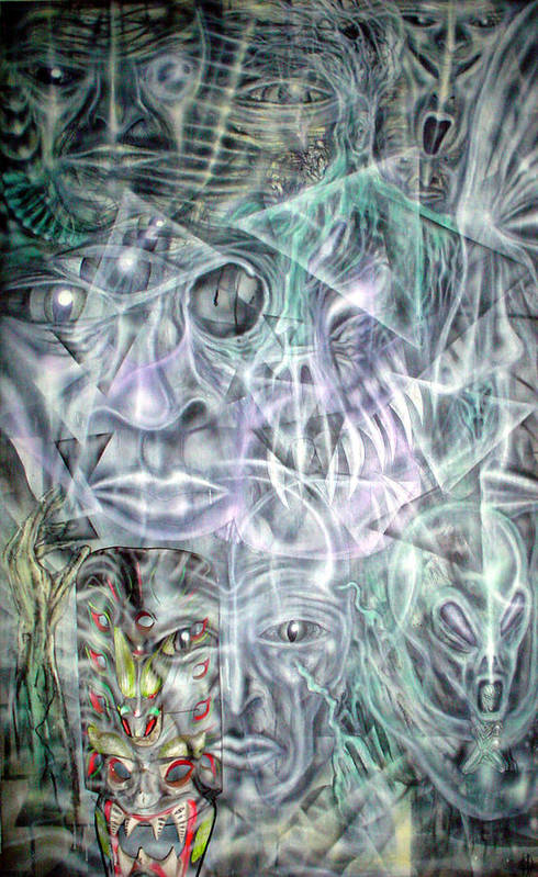 Contemporary Art Print featuring the painting Mask Unfolding by Leigh Odom