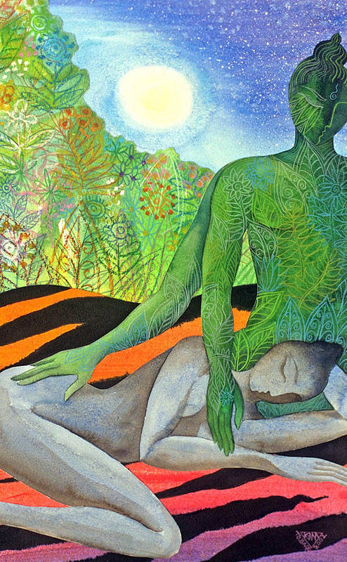 Moon Jungle Forestspirit Magical Mysterious Tropical Art Print featuring the painting Moonrise by Jennifer Baird