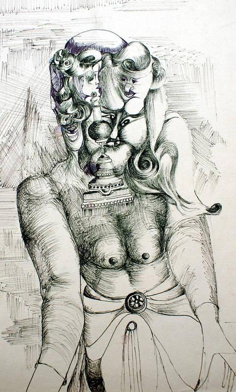 Monster Art Print featuring the painting Multiple Headed Monster by Padamvir Singh