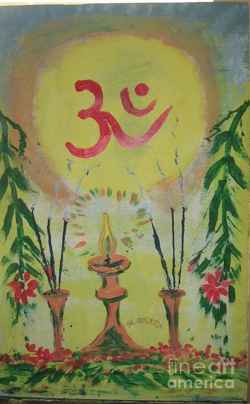 Hinduism Art Print featuring the painting Om Immage For Memmory by m Bhatt