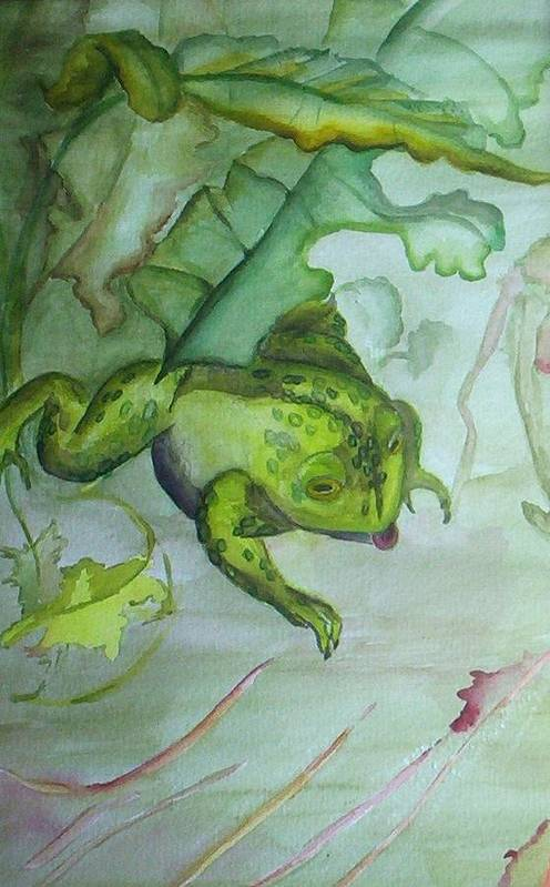 Small Matted And Framed Watercolor Painting Of One Frog In An Abstracted Nature Setting. Art Print featuring the painting One Frog by Georgia Annwell