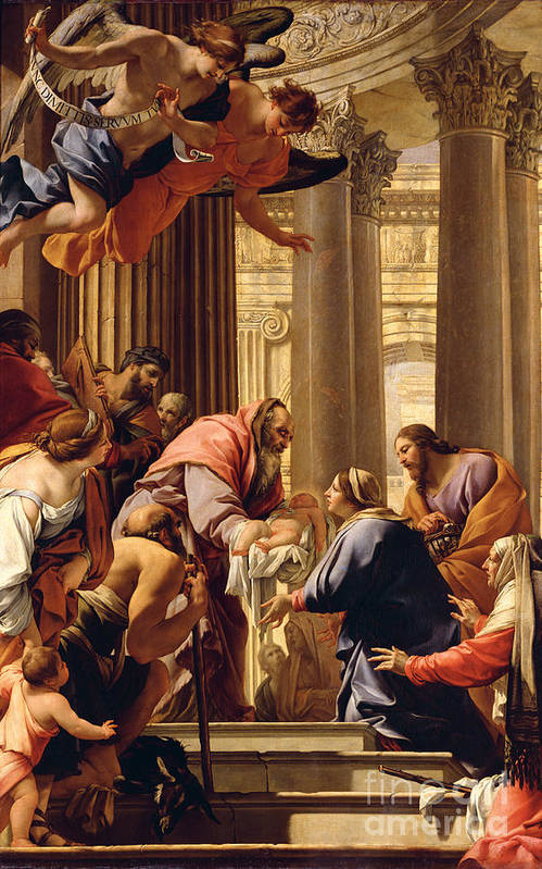 Presentation In The Temple (oil On Canvas) Jesus Christ; Mary; Joseph; Infant; Baby; Angels Art Print featuring the painting Presentation In The Temple by Simon Vouet