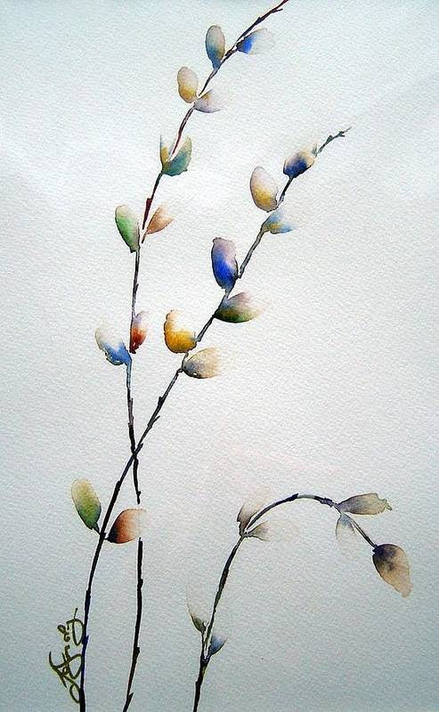 Pussy Willow Branches Art Print featuring the painting Pussy Willows by Joanne Smoley