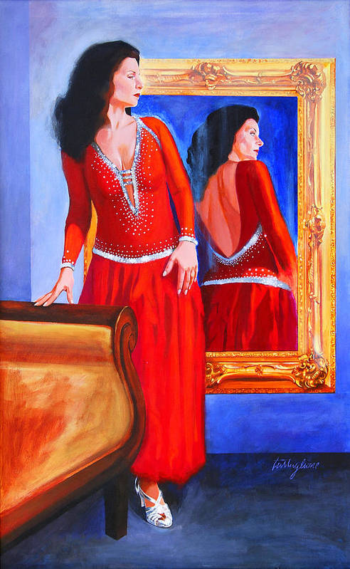 Red Dress Art Print featuring the painting Red Dress by John Tartaglione