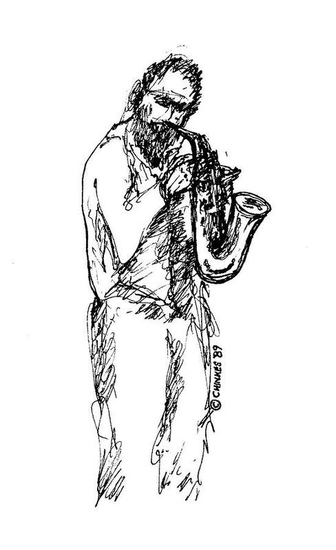 Sax Art Print featuring the drawing Saxman by Sam Chinkes