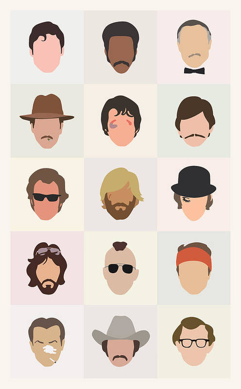 1970s Art Print featuring the digital art Seventies Movie Dudes by Mitch Frey