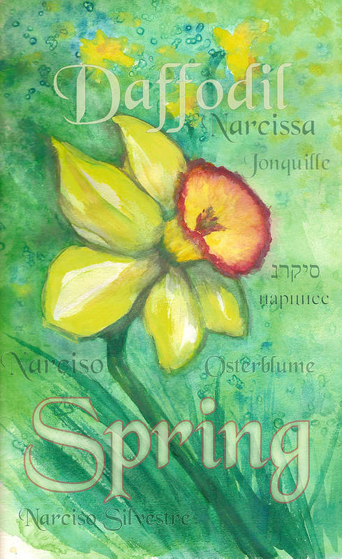 Daffodil Art Print featuring the painting Spring Daffodil by Sharon Crawford