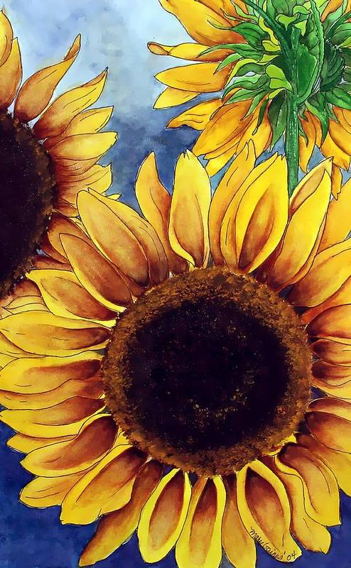 Watercolor Art Print featuring the painting Sunny Sunflowers by Mary Gaines
