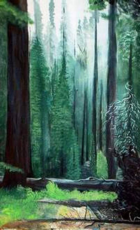 Landscape Art Print featuring the painting Tall Trees by Julie Lamons