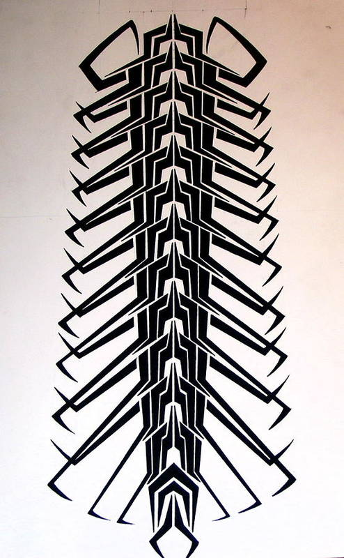 Tribal Art Print featuring the drawing Technopede by Stefan Johnson