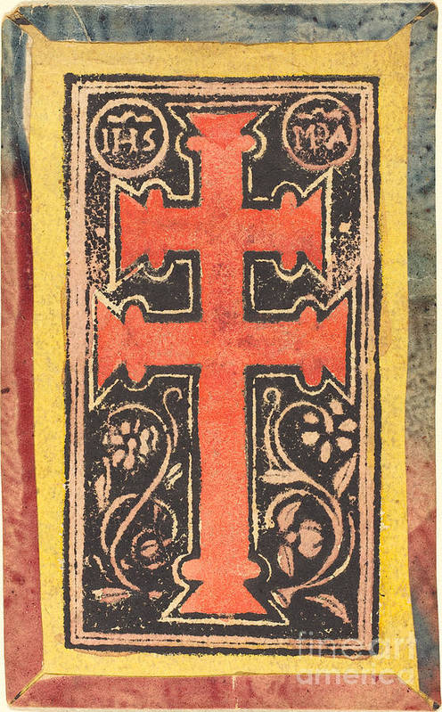 Art Print featuring the drawing The Cross by German 15th Century
