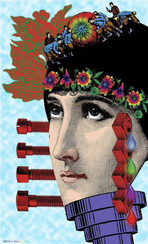 Digital Collage Art Print featuring the digital art The Flow Of Memory by Eric Edelman