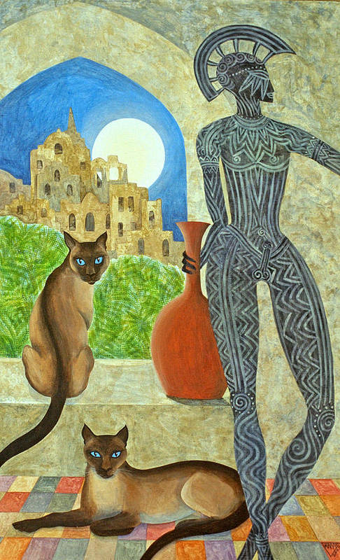 Siamese Cats Greek King Ancient City Full Moon  Art Print featuring the painting The Kings Command by Jennifer Baird