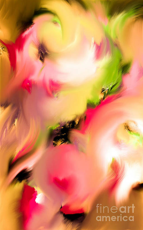 Abstract Art Art Print featuring the digital art The Kiss 3 by Laura Dominguez