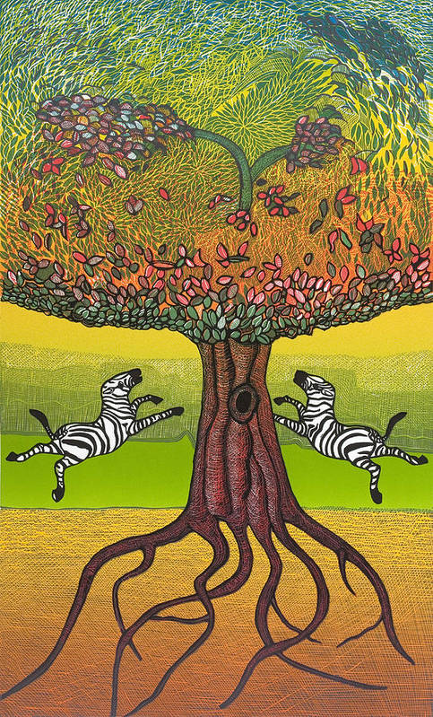 Landscape Art Print featuring the mixed media The Life-giving Tree. by Jarle Rosseland