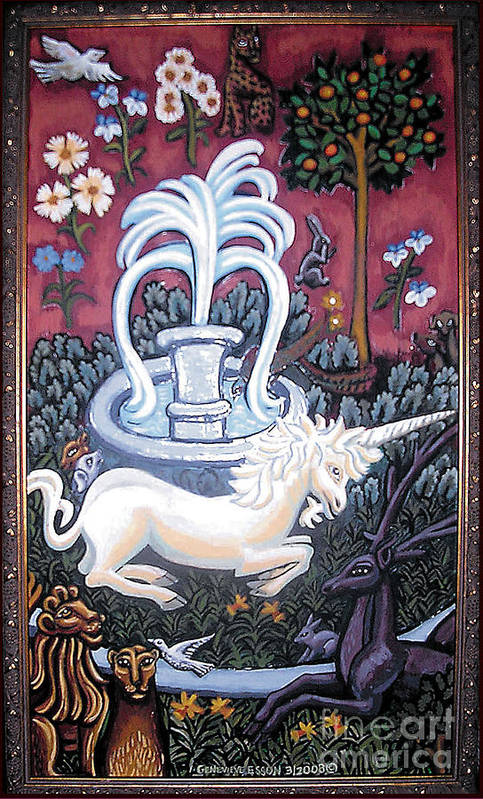 Unicorn Tapestries Art Print featuring the painting The Unicorn And Garden by Genevieve Esson