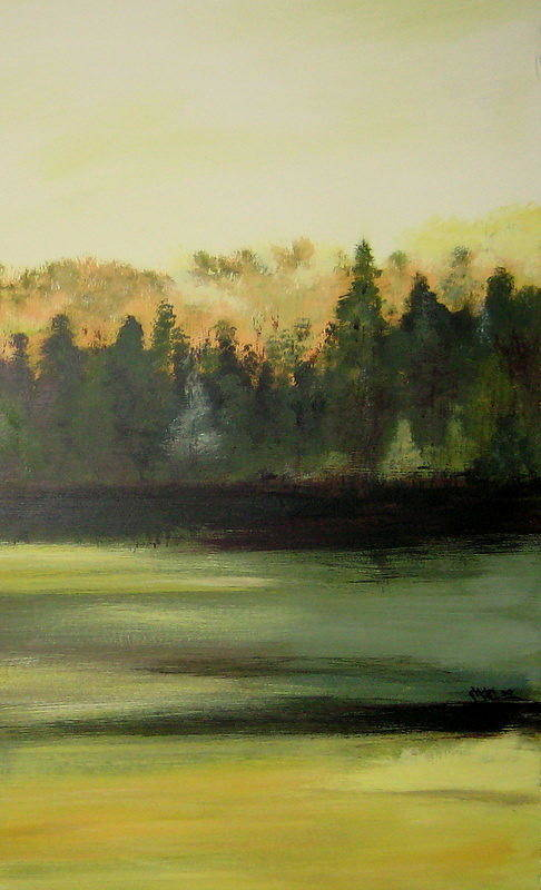 Landscapes Art Print featuring the painting Trees In The Mist by Marcia Crispino