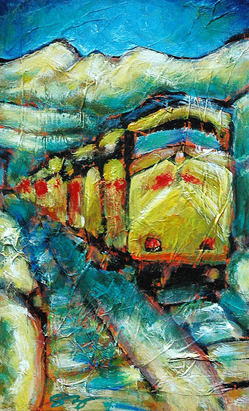 Train Art Print featuring the painting Truckee Train 2 by Sara Zimmerman