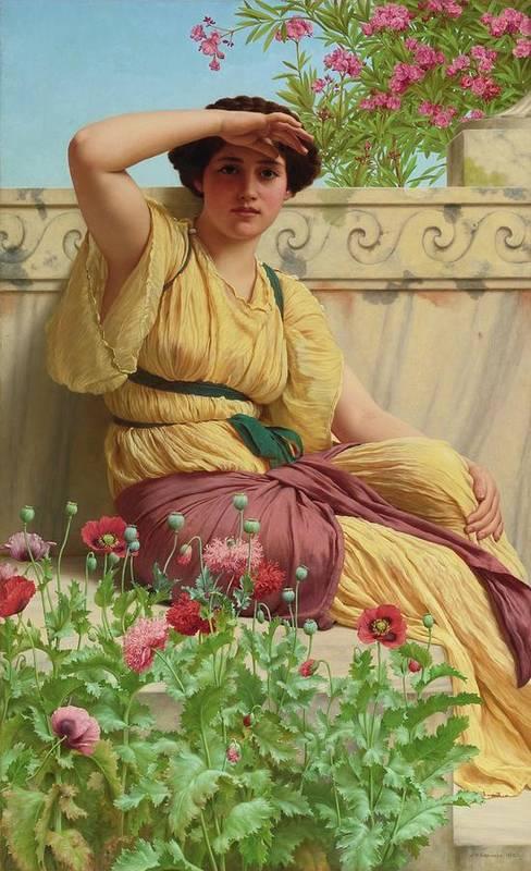 John William Godward 1861 - 1922  A Tryst Art Print featuring the painting Tryst by John William Godward