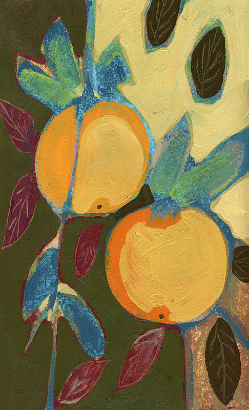 Orange Art Print featuring the painting Two Oranges by Jennifer Lommers