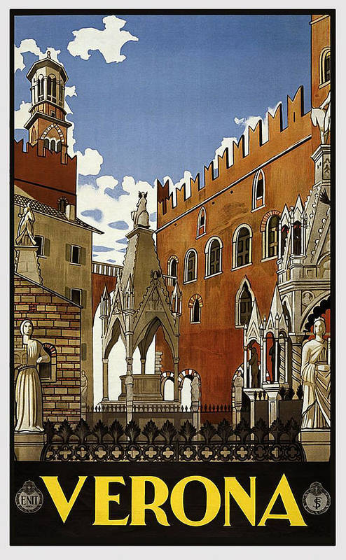 Verona Art Print featuring the painting Verona, Medieval Town, Italy, Travel Poster by Long Shot