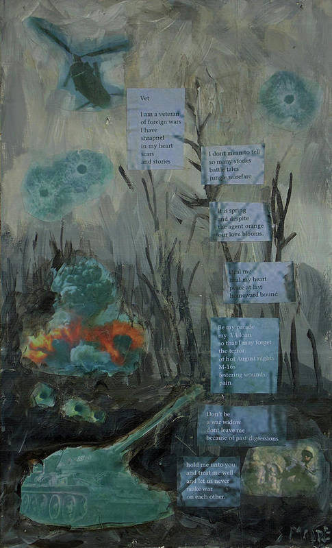 Landscape With Words Art Print featuring the painting Vet by Susan Moore