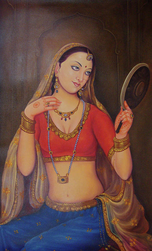 Wonderful Lady Queen Dressing Herself In Collectibles Art Indian Traditional Canvas Oil Painting Art Print
