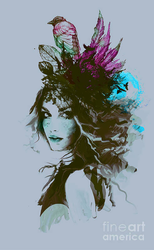 Beauty Art Print featuring the digital art Free Hand Fashion Illustration With A by Alisa Franz