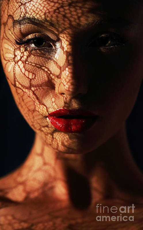 Makeup Art Print featuring the photograph Woman In Shadows With Reflection Of by Gromovataya