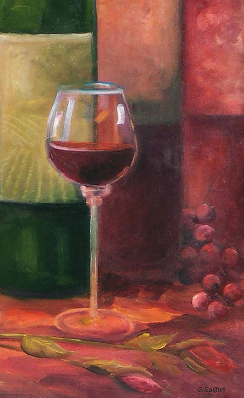 Wine Art Print featuring the painting Wine Glass by Gail Salitui
