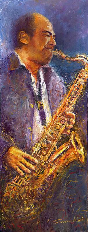 Jazz Art Print featuring the painting Jazz Saxophonist by Yuriy Shevchuk