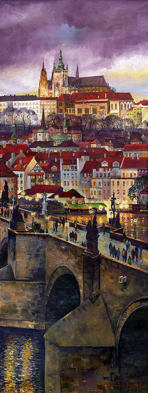 Prague Art Print featuring the painting Prague Charles Bridge with the Prague Castle by Yuriy Shevchuk