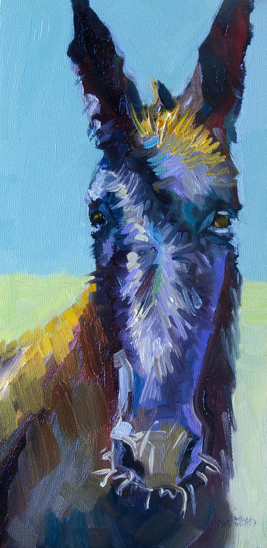 Burro Art Print featuring the painting Burro Stare by Diane Whitehead