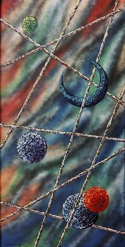 Abstract Art Print featuring the painting Crescent by Micah Guenther