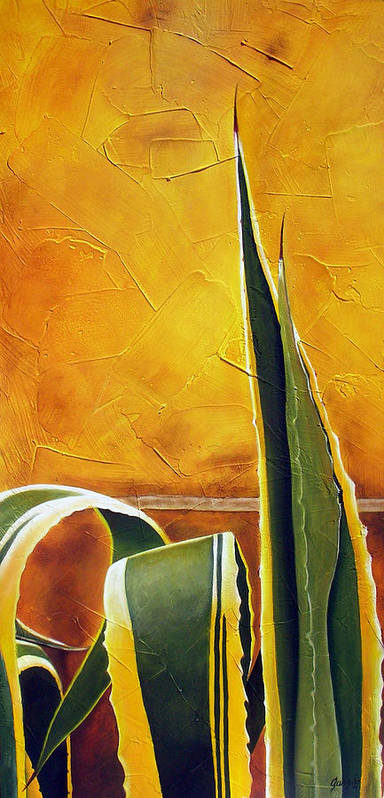 Agave Art Print featuring the painting Agave americana by Maribel Garzon