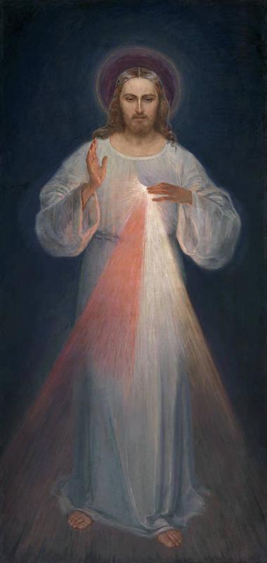 Eugene Kazimierowski Art Print featuring the painting Divine Mercy by Eugene Kazimierowski