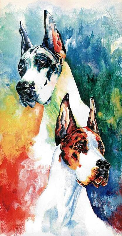 Great Dane Art Print featuring the painting Fire And Ice by Kathleen Sepulveda