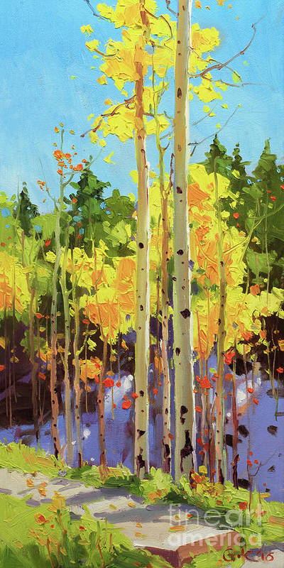 Autumn Aspen Forest Covered In Early Snow Southwestern Rocky Mountain Orange Leaves White Sliver Bark Aspen Trunks Wildflowers Foreground Along Grasses Aspen Trees Golden Yellow Vibrant Colorful Autumn Tree Foliage Giclee Print Landscape Wildflower Elk Mountains Maroon Peak Forest Nature Woods Flowers Trees Summer Spring Flowers Tree Canopy Vibrant Vivid Colorful Colourful Gary Kim Fineart Original Oil Painting Landscape Oil Painting Contemporary Art Print featuring the painting Golden Aspen in early snow by Gary Kim