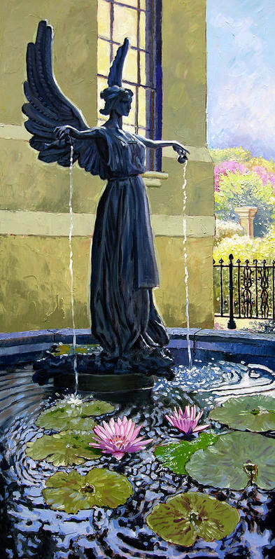 Garden Fountain Art Print featuring the painting Living Waters by John Lautermilch